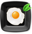 Fried eggs served on black plate vector image vector image
