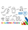 funny animals coloring book vector image vector image