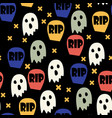 ghost and gravestone halloween pattern vector image vector image