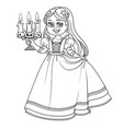 girl in carnival costume vampire with candlestick vector image vector image