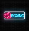 glowing neon boxing club sign in rectangle frame vector image vector image