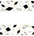graduation greeting banner with student caps and vector image vector image
