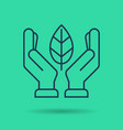 green isolated linear icon - hands with leaf vector image vector image
