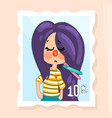 grumpy girl character kids drawing vector image