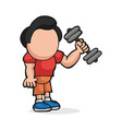 hand-drawn cartoon of man standing lifting vector image vector image