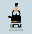 Hand Putting A Kettle On A Fire Stove vector image vector image