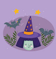 happy halloween witch with hat stars and bat vector image vector image