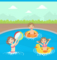 happy little boys and girls swimming and playing vector image vector image