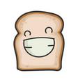 happy smiling slice bread cartoon vector image vector image