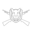 Hunting trophy Stuffed wild boar head Line-art vector image vector image