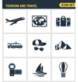 Icons set premium quality of tourism travel vector image