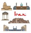 Iran architecture landmarks sightseeings vector image