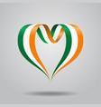 irish flag heart-shaped ribbon vector image