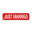 Just married red 3d square button isolated on vector image