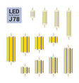 led light j78 bulbs colorful icon set vector image vector image