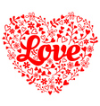 Love red flower heart vector image vector image
