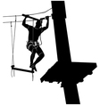 man on cables in an adventure park vector image