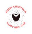 merry christmas badge design with santa head vector image