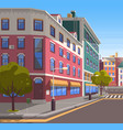 modern city street realistic tranquil town look vector image vector image