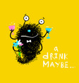 monster funny character with drink and flowers vector image vector image