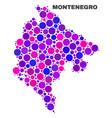 mosaic montenegro map of circle dots vector image vector image
