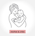 mother with child line art icon logo sign vector image vector image