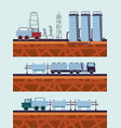 oil industry with transport trucks vector image vector image