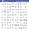One hundred linear icons for transportation vector image