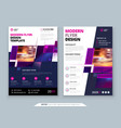 purple flyer template layout design corporate vector image