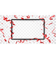 red ribbon with confetti with space for text vector image vector image