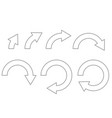 rotation arrows set of outline icons on different vector image