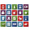 rounded square icons set some kitchen utensils vector image