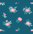 seamless pattern with wild roses on the dark blue vector image vector image