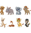 set funny kids animals vector image vector image