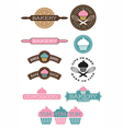 Set of 10 bakery and cupcake designs vector image vector image