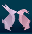 set of couple origami hare vector image vector image