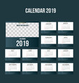 simple calendar 2019 background template vector image vector image