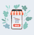 smartphone with shopping vector image vector image