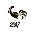 Stylized calligraphic rooster symbol of new 2017 vector image vector image