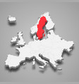sweden country location within europe 3d map vector image vector image
