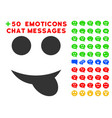tongue smile icon with bonus emotion collection vector image