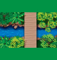 topview wooden bridge on river in forest vector image vector image