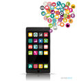 Touchscreen device with cloud of colorful vector image vector image