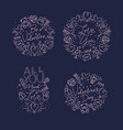 valentines day flat monograms blue vector image vector image