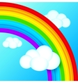 vibrant rainbow in sky with white clouds vector image vector image