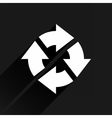 White arrow icon reset sign on black background vector image vector image