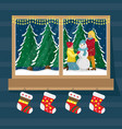 window socks for gifts with the view vector image vector image