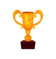winner cup on a pedestal golden first place prize vector image vector image