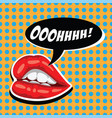 woman red lips and comic speech bubble female vector image vector image