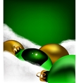 Xmas greeting card Christmas gold and green toys vector image vector image